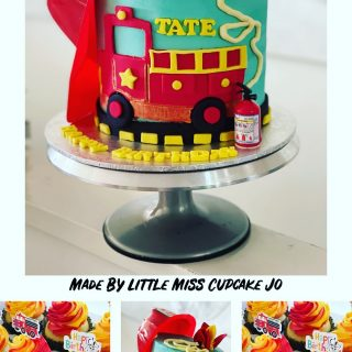 Delivered this FIRE themed birthday cake and FIRE cupcakes to a little boy turning three. Fluffy vanilla cake with cotton candy buttercream. Happy Birthday TATE❤️